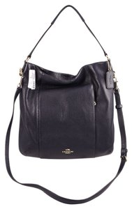 Coach Leather Blue Zip Closure Silvertone Hardware Satchel in Navy