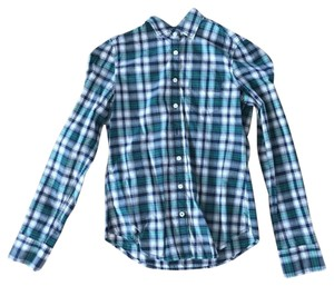 American Eagle Outfitters Plaid Cotton Button Down Shirt Green, Navy, White