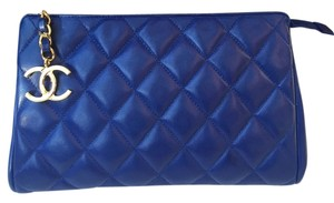 Chanel Quilted Lambskin Blue Clutch