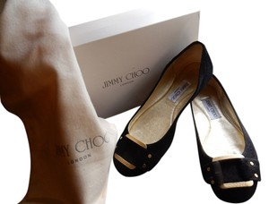 Jimmy Choo Gold Buckle black Flats