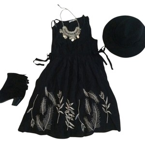 Cecico short dress black, cream Feathers Embroidered Boho on Tradesy