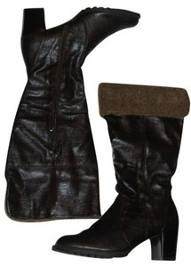 RSVP Trim Faux Fur Faux Shearling Brown Boots