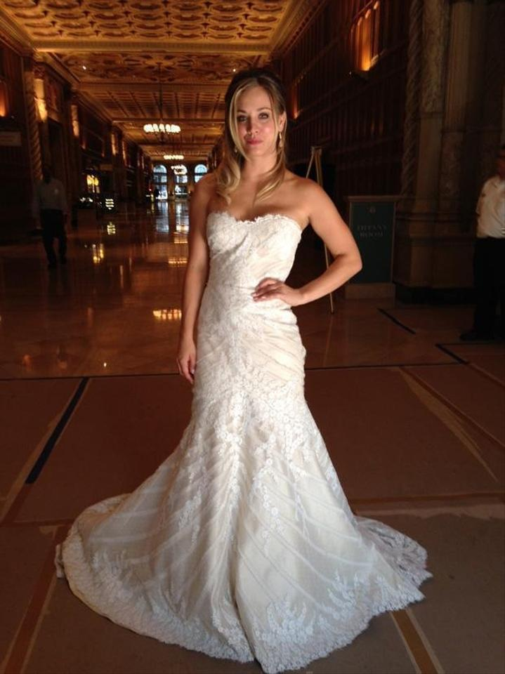 Matthew christopher ivory silk chiffon w lace overlay for Matthew christopher wedding dress prices