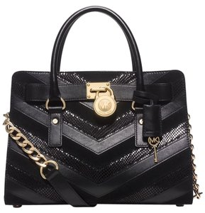 Michael Kors Limited Edition Mixed Leather Satchel in Black