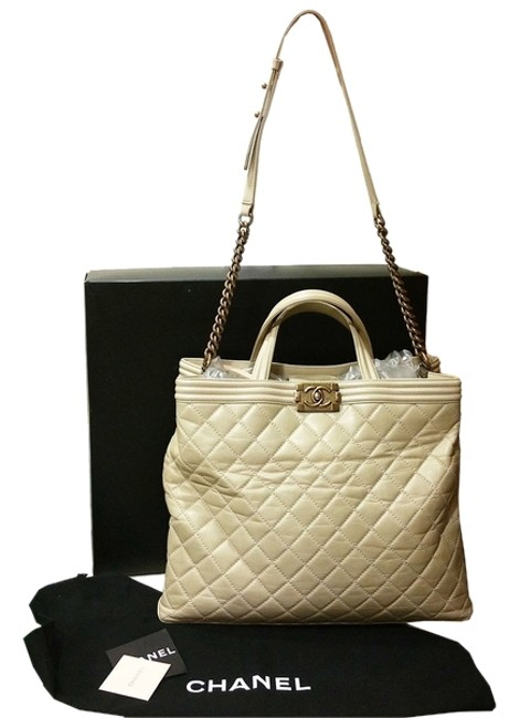 Chanel Boy Shopping Tote Way Beige Leather Cross Body Bag Chanel Boy Shopping Tote Way Beige Leather Cross Body Bag Image 1