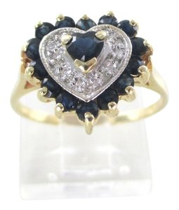 14K YELLOW GOLD DIAMOND RING HEART SHAPE DESIGN ENGAGEMENT WEDDING BAND SZ 6.5