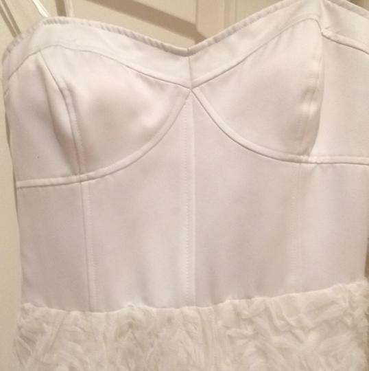 Adrianna Papell Ivory Corseted Rosette Ball Gown Feminine Wedding Dress Size 8 (M) Image 3