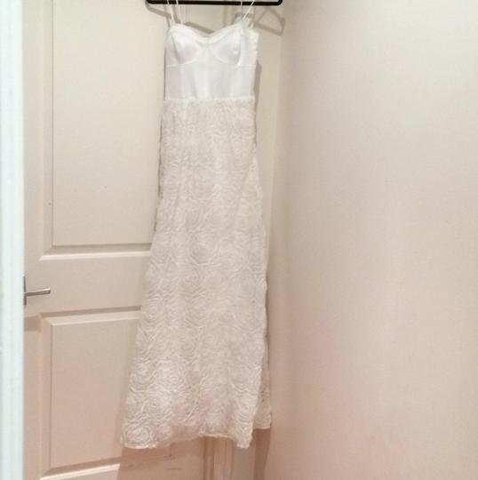 Adrianna Papell Ivory Corseted Rosette Ball Gown Feminine Wedding Dress Size 8 (M) Image 8