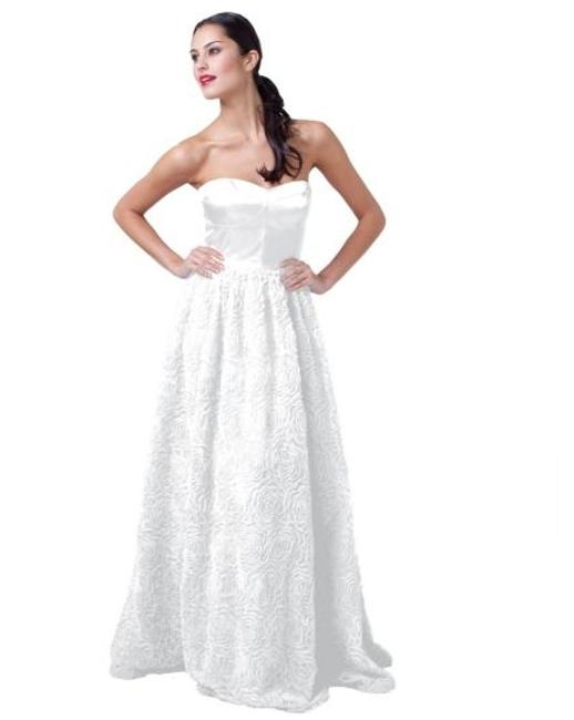 Adrianna Papell Ivory Corseted Rosette Ball Gown Feminine Wedding Dress Size 12 (L) Adrianna Papell Ivory Corseted Rosette Ball Gown Feminine Wedding Dress Size 12 (L) Image 1