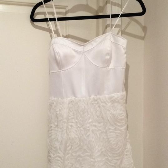 Adrianna Papell Ivory Corseted Rosette Ball Gown Feminine Wedding Dress Size 12 (L) Image 1