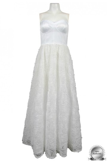 Adrianna Papell Ivory Corseted Rosette Ball Gown Feminine Wedding Dress Size 12 (L) Image 8