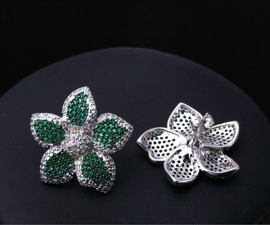 Czech Brand new flower design micropaved earrings Image 5