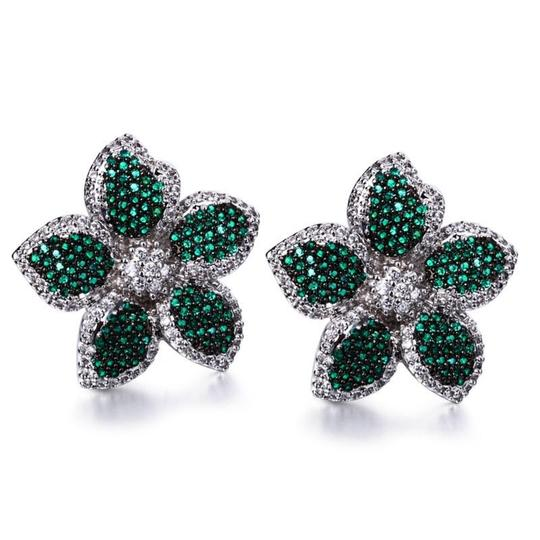 Czech Brand new flower design micropaved earrings Image 9