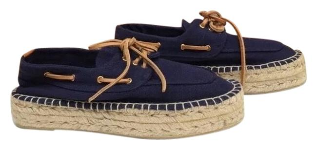 Item - Blue Navy Canvas Lace Oxford Loafer Espadrille Wedge Flats Size US 9 Regular (M, B)