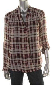 Alfani Top Burgandy plaid