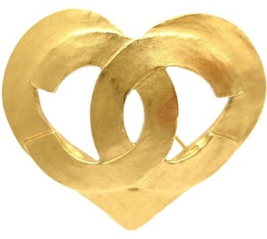 Chanel Auth CHANEL COCO Broach Heart Metal Gold Brooch