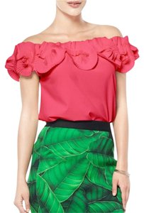 Gracia Ruffle Top Coral