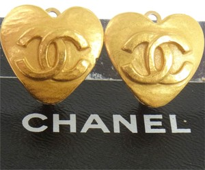 Chanel Auth CHANEL Vintage CC Logos Heart Motif Earrings 0.7 - 0.7