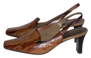 Liz Claiborne Flex Career Slingback Leather Brown reptile pattern Pumps