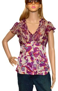 Nanette Lepore Top Gray / Purple / Orange Silk