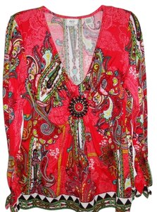 ECI New York Beaded Top Red Multi