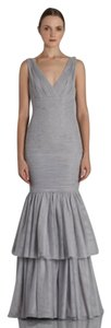 Monique Lhuillier V-neck Tiered Fitted Tulle Dress
