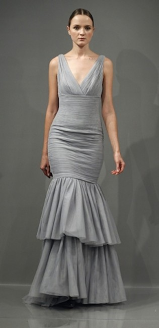 Monique Lhuillier V-neck Tiered Fitted Tulle Ball Gown Dress