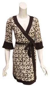 Diane von Furstenberg short dress Brown and white on Tradesy