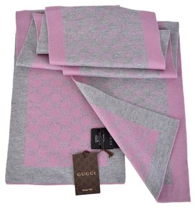 Gucci NEW Gucci 421068 Women's Grey and Pink GG Guccissima Scarf Muffler