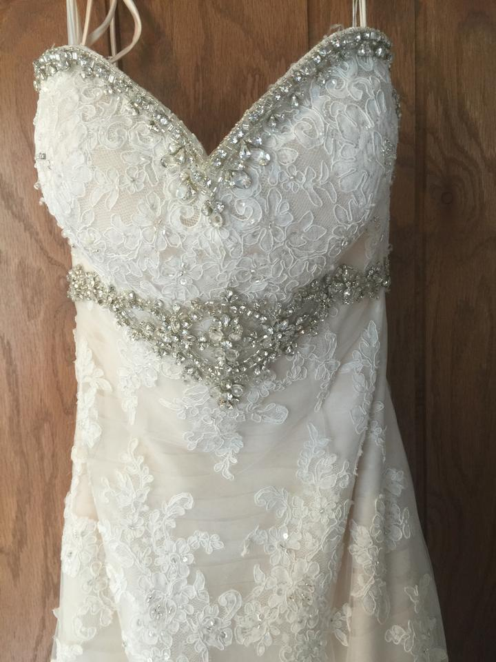 b50109191b13 Christina Wu Ivory Over Blush Lace Applique Tulle 15533 Traditional Wedding  Dress