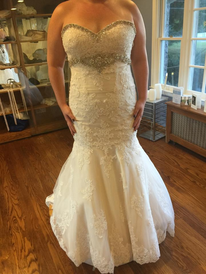 4ee9a3a003d8 Christina Wu Ivory Over Blush Lace Applique Tulle 15533 Traditional Wedding  Dress Size 8 (M. 12345678910