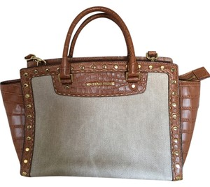 Michael Kors Studded Leather Hemp Satchel in Brown / Natural