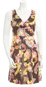Tory Burch Sleeveless Silk Floral Print Pink Yellow Gold Dress