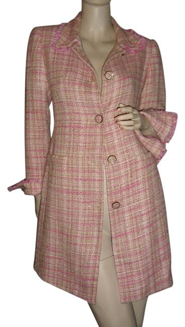 Georgiou Studio Pink Beige Frayed Tweed Dress Jacket Tweed Coat Size 10 (M) Georgiou Studio Pink Beige Frayed Tweed Dress Jacket Tweed Coat Size 10 (M) Image 1