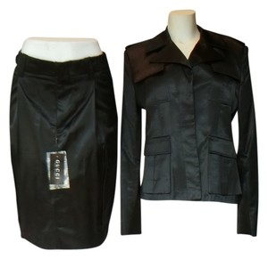 Gucci Gucci Black Satin Jacket Skirt Suit