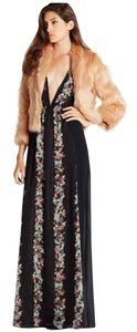 Black Maxi Dress by BCBGeneration Maxi Floral Long Vneck Pattern Multi Formal Date Night Gold