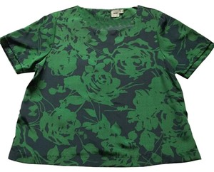 ASOS Floral Print Boxy Top Emerald Green/ Navy.