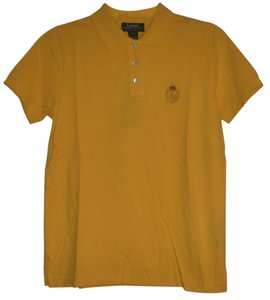 Ralph Lauren 3 Button Placket * Vented Hem Embroidered Crest * Ribbed Collar Ribbed Arm Bands T Shirt Dark Yellow