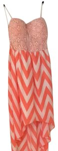 Chance or fate short dress Orange And White Chevron With Lace on Tradesy
