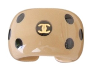 Chanel Authentic CHANEL Vintage CC Logos Polka Dot Ring Plastic Beige Size 6.5