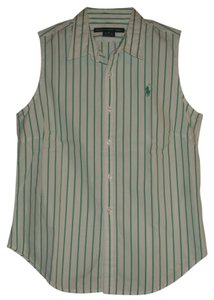 Ralph Lauren Button Down Shirt White & Green Stripe