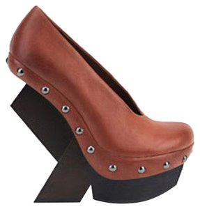 United Nude Artsy Abstract Wooden Heels Rare Cognac Platforms