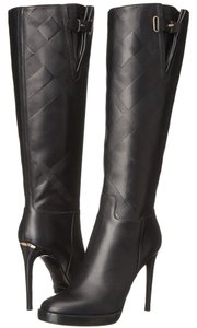 Burberry Made In Italy Checkered Details Signature Gold Plate Black Boots