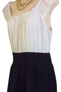 Free People short dress white black Lace Bottom Peasant 6 on Tradesy