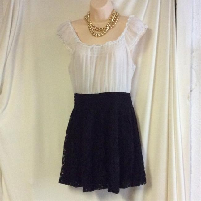Free People short dress white black Lace Bottom Peasant on Tradesy