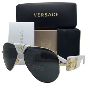 Versace New VERSACE Sunglasses VE 2150-Q 1341/87 Gold & White Aviator Frame w/ Grey lenses