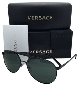 Versace New VERSACE Sunglasses VE 2155 1261/71 59-15 140 Matte Black Frame w/Grey-Green lenses