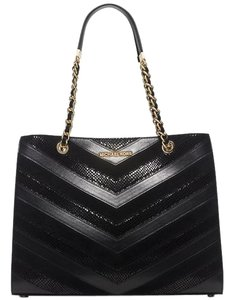 Michael Kors Susannah Leather Large Chevron Tote in Black / Gold
