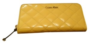 Calvin Klein Patent Quilted yellow Clutch