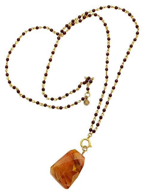 Item - Grey Green Dark Wood and Gold Chain Agate Beaded Necklace